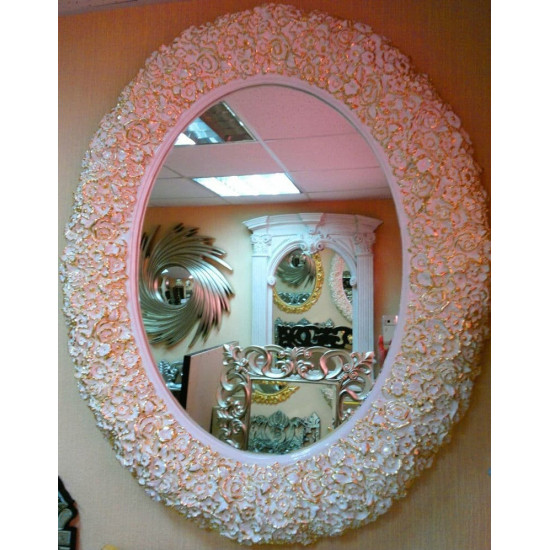 Овальное настенное зеркало в раме «Орнелла» Белое с Золотом в интернет-магазине ROSESTAR фото
