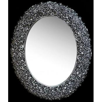 Овальное настенное зеркало в раме «Орнелла» Чернёное Серебро