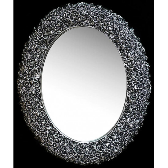 Овальное настенное зеркало в раме «Орнелла» Чернёное Серебро в интернет-магазине ROSESTAR фото