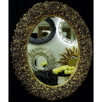 Овальное настенное зеркало в раме «Орнелла» Чернёное Золото