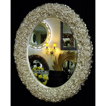 Овальное настенное зеркало в раме «Орнелла» Серебро Шампань