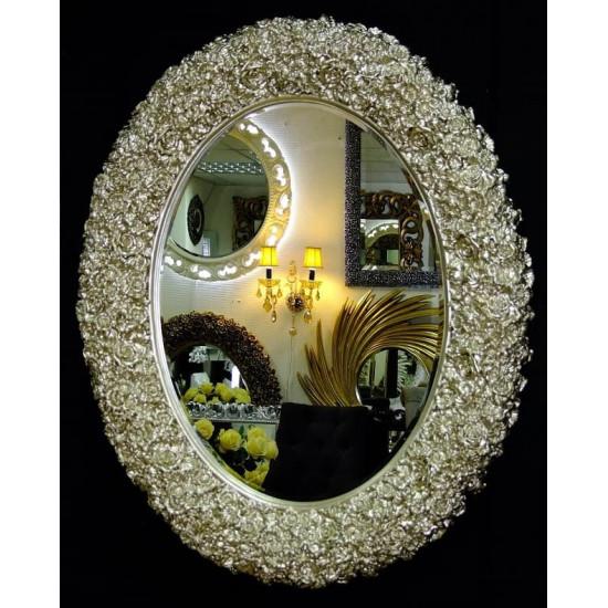 Овальное настенное зеркало в раме «Орнелла» Серебро Шампань в интернет-магазине ROSESTAR фото