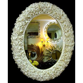 Овальное настенное зеркало в раме «Орнелла» Слоновая кость с Золотом