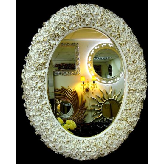 Овальное настенное зеркало в раме «Орнелла» Слоновая кость с Золотом в интернет-магазине ROSESTAR фото