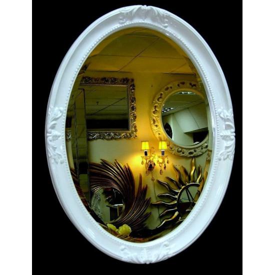 Овальное настенное зеркало в раме «Пацифик» Белое в интернет-магазине ROSESTAR фото