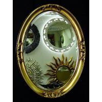 Овальное настенное зеркало в раме «Пацифик» Чернёное Золото
