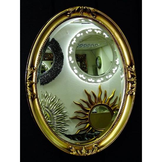 Овальное настенное зеркало в раме «Пацифик» Чернёное Золото в интернет-магазине ROSESTAR фото