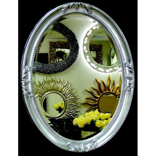 Овальное настенное зеркало в раме «Пацифик» Чернёное Серебро в интернет-магазине ROSESTAR фото