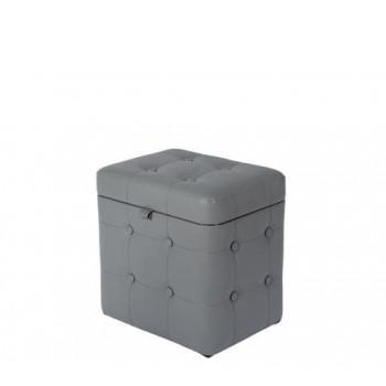 Пуфик Серый Экокожа с ящиком 40х30х40 см