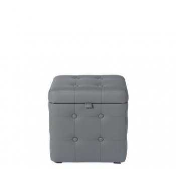 Пуфик Серый Экокожа классический с ящиком 40х40х40 см