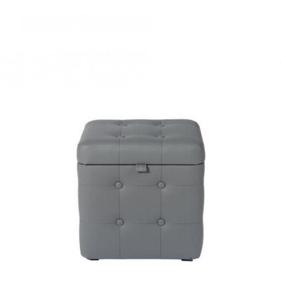 Пуфик Серый Экокожа классический с ящиком 40х40х40 см в интернет-магазине ROSESTAR фото