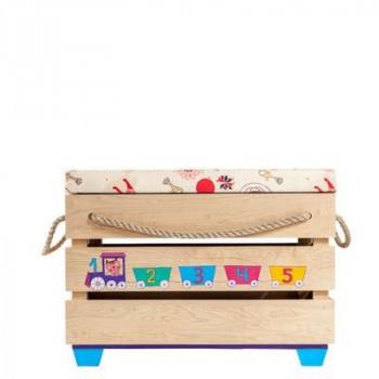 Ящик-пуфик детский «Паровозик и котики»