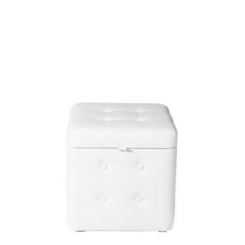 Пуфик Белый классический с ящиком 40х40х40 см
