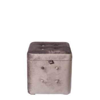 Пуфик Серый Велюр классический с ящиком 40х40х40 см