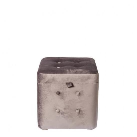 Пуфик Серый Велюр классический с ящиком 40х40х40 см в интернет-магазине ROSESTAR фото