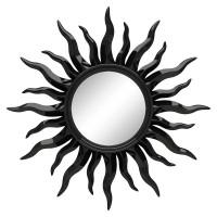 Зеркало солнце настенное «Руна» лучи цвета Чёрный глянец