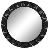 Круглое настенное зеркало в раме «Эрленд» Чёрный глянец