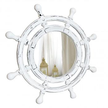 Зеркало-штурвал настенное «Бернт» Белый/шебби шик