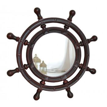Зеркало-штурвал настенное «Бернт» Красное дерево
