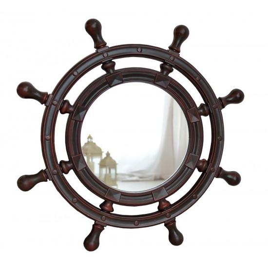 Зеркало-штурвал настенное «Бернт» Красное дерево в интернет-магазине ROSESTAR фото