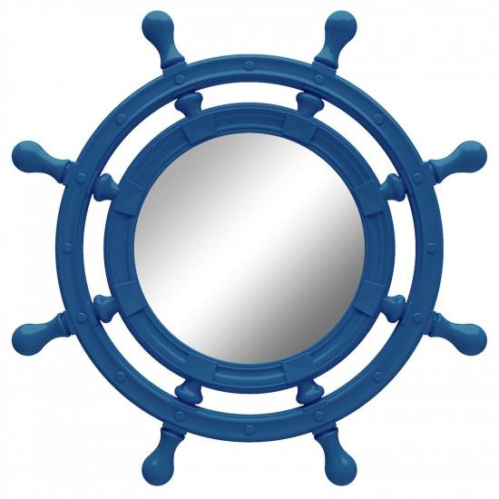 Зеркало-штурвал настенное «Бернт» Синее в интернет-магазине ROSESTAR фото