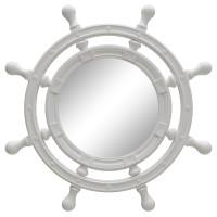 Зеркало-штурвал настенное «Бернт» Белый глянец