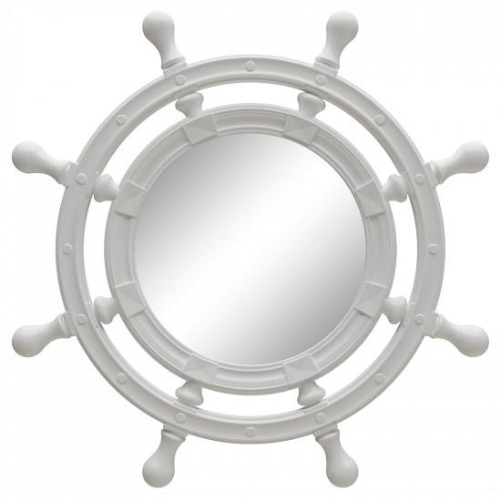 Зеркало-штурвал настенное «Бернт» Белый глянец в интернет-магазине ROSESTAR фото