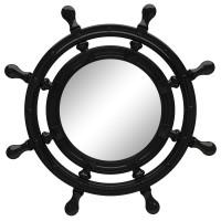 Зеркало-штурвал настенное «Бернт» Чёрный глянец