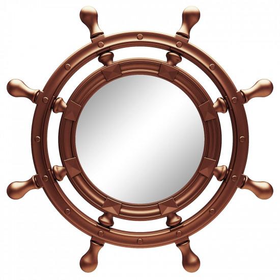 Зеркало-штурвал настенное «Бернт» Медь в интернет-магазине ROSESTAR фото