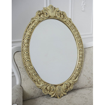 Овальное настенное зеркало в раме «Эджил» Слоновая кость/шебби шик/патина/золото