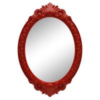 Овальное настенное зеркало в красной раме «Эджил» Красное