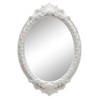 Овальное настенное зеркало в белой раме «Эджил» Белый глянец