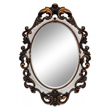 Овальное настенное зеркало в раме «Лока» Венге/слоновая кость/золото/кракелюр