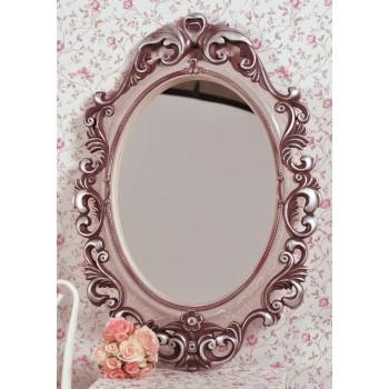 Овальное настенное зеркало в розовой раме «Лока» Вино/серебро/кракелюр