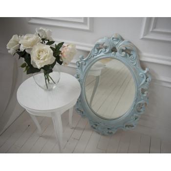 Овальное настенное зеркало в голубой раме «Лока» Голубой/охра/шебби шик