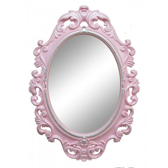 Овальное настенное зеркало в розовой раме «Лока» Розовый/перламутр/серебро/поталь в интернет-магазине ROSESTAR фото