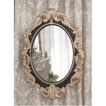Овальное настенное зеркало в раме «Лока» Слоновая кость/венге/золото/кракелюр