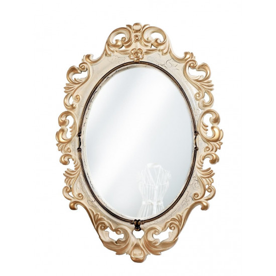 Овальное настенное зеркало в раме «Лока» Слоновая кость/золото/кракелюр в интернет-магазине ROSESTAR фото
