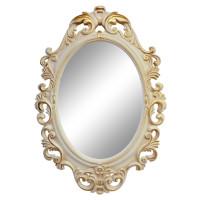 Овальное настенное зеркало в раме «Лока» Слоновая кость/золото/патина