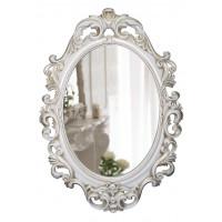 Овальное настенное зеркало в белой раме «Лока» Белый/золотая патина