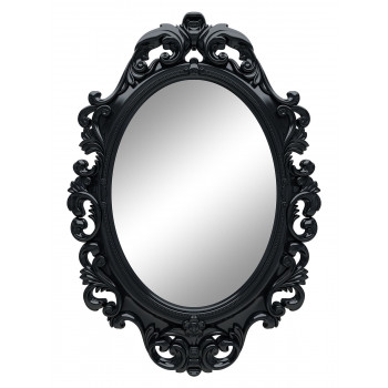 Овальное настенное зеркало в чёрной раме «Лока» Чёрный глянец