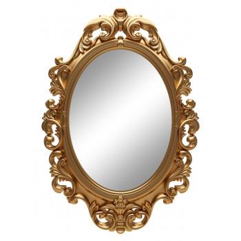 Овальное настенное зеркало в золотой раме «Лока» Золото