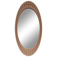 Овальное настенное зеркало в раме «Грид» Коричневое/замша