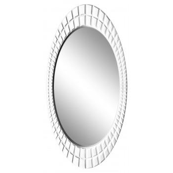 Овальное настенное зеркало в раме «Грид» Белый глянец