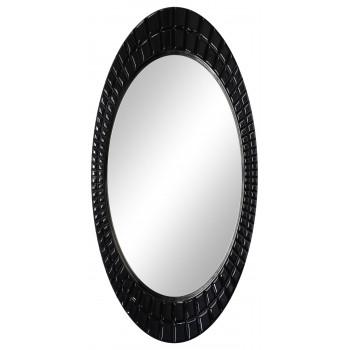 Овальное настенное зеркало в раме «Грид» Чёрный глянец