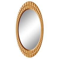 Овальное настенное зеркало в раме «Грид» Золото королевское