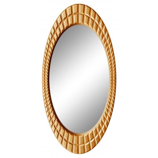Овальное настенное зеркало в раме «Грид» Золото королевское в интернет-магазине ROSESTAR фото