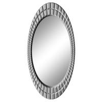 Овальное настенное зеркало в раме «Грид» Серебро хром