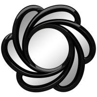 Зеркало солнце настенное с лучами «Линн» Чёрный глянец