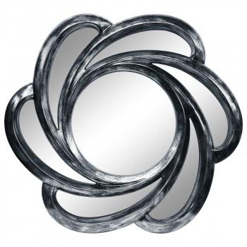 Зеркало солнце настенное с лучами «Линн» Серебро состаренное поталь/венге